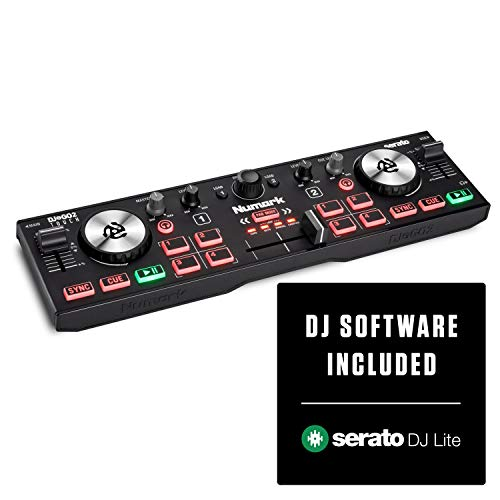Numark DJ2Go2Touch - Console Dj Compatta USB con 2 Deck per Serato Dj, con Mixer/Crossfader, Scheda Audio e Jog Wheel Capacitive Sensibili al Tocco