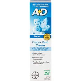 A+D Diaper Rash Cream, Dimethicone Zinc Oxide Cream, 4 oz (113 g) (Pack of 12 (4 oz each))