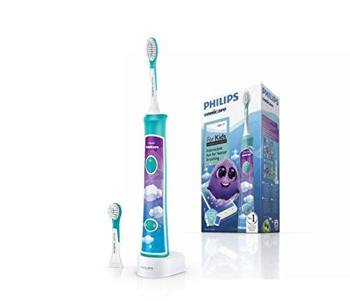 Philips HX6322/04 Sonicare ForKids - Spazzolino Elettrico per Bambini con Tecnologia Sonicare, Connesso all'App per un'Igiene Orale Divertente
