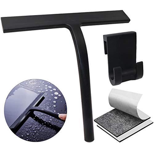 U&X Duschabzieher Silikon Duschwischer mit Wandaufhänger und Doppelseitiges Klebeband Ohne Bohren, Badezimmerwischer Fensterabzieher für Badezimmer Spiegel Fenster Glasreinigung