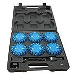 Maletín policial de advertencia 6 balizas señalizadoras a 16 LEDs azules recargables de gran visibilidad y magnéticas (1- Maletín leds azules)