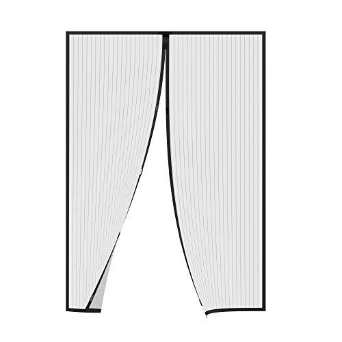 jarolift Insektenschutz Magnetvorhang für Türen Fliegengitter Fliegenschutzvorhang, ohne Bohren, Höhe und Breite kürzbar, 110 x 220 cm (B x H), Schwarz