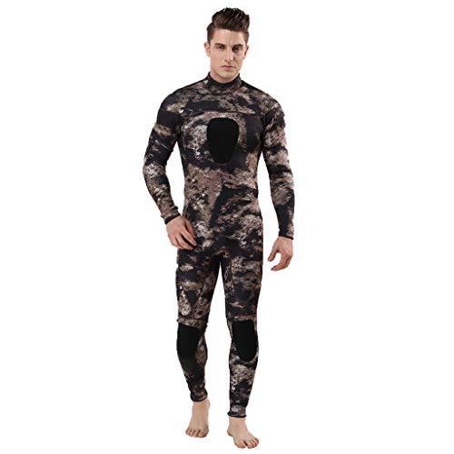 QIMANZI Taucheranzug Herren Wetsuit 3MM Ganzkörperanzug Super Stretch Tauchanzug Swim Surf Schnorcheln(Khaki,3XL)
