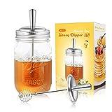 AIEVE Mason Jar Honey Dippers, 2 Pack Stainless Steel Honey Sticks Lid Honey Spoon Honey Dipper Mason Jar Topper Honey Dipper Lid for Regular Mouth Mason Jars Ball Jars Honey Jar (Jar Not Included)