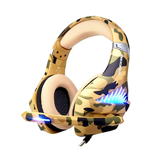 Gaming Headset for PS4, Xbox One, PC, Laptop Cellphone -Stereo Surround Gaming Headphones with Microphone, Noise Cancelling, LED Lights, Volume Control 3.5 mm Jack - Camo