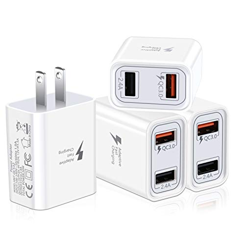 QC 3.0 Fast Wall Charger, Pofesun 4Pack 30W Rapid Charge 3.0 Adaptive Fast Charging USB Wall Charger Adapter Compatible for Samsung Galaxy S10 S9 S8 Plus S7 S6 Edge Note 8 9 10,iPhone,LG,Tablet-White