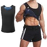 "Sfigur Men's Premium Workout Tank Top Slimming Polymer Weight Loss Shapewear, Sauna Vest Body Shaper Shirt (Black, L/XL Waistline 36""-44"")"