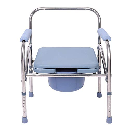 Deevin Portable Toilet Chair, Height Adjustable Bedside Commode, Folding Shower Chair for Pregnant Women/Elderly/Disabled, Stainless Steel