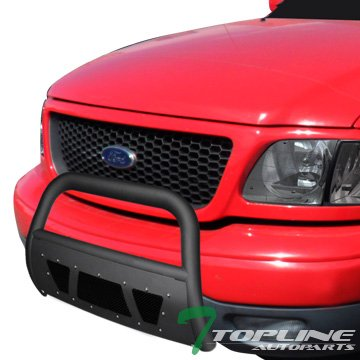 Topline Autopart Matte Black Studded Mesh Bull Bar Brush Push Front Bumper Grill Grille Guard With Skid Plate For 97-03 Ford F150 / F250 / 04 Heritage / 97-02 Expedition
