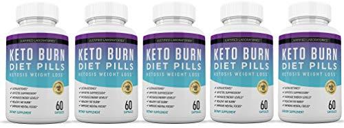Keto Diet Pills Burn Shred BHB Salts Advanced Ketogenic Supplement Exogenous Ketones Ketosis Weight Loss Fat Burner Boost Energy Metabolism Men Women 60 Capsules (5 Bottles) 1