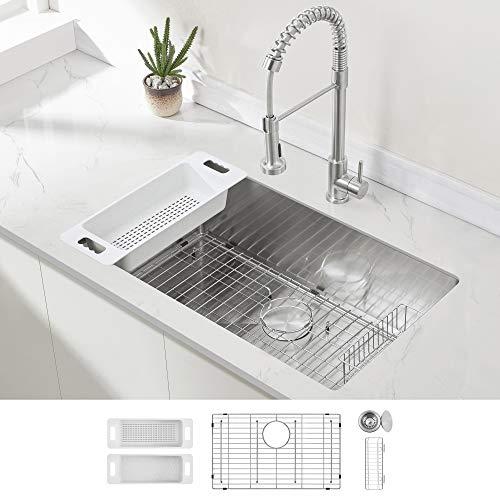 Modena Undermount Kitchen Sink Set, 16-Gauge Stainless Steel...