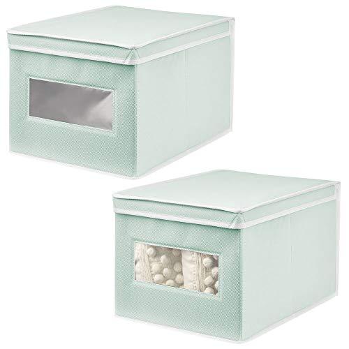 mDesign Set da 2 Organizer Armadio con Coperchio e Finestra Capienti scatole per armadi perfette...