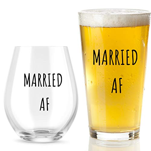 Married AF Wine Glass And Beer Glass Gift Set - Funny Mr And...