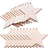 Pack of 50 Wooden Crafts to Paint Christmas Tree Hanging Ornaments Unfinished Wood Cutouts Christmas...