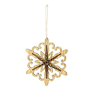 From The Country Tweed Collection Brown wooden hanging Christmas ornament Snowflake shaped ornament is three dimensional Designed with a jute rope for hanging 5.25 inches high by 5.25 inches wide by 1.75 inch deep