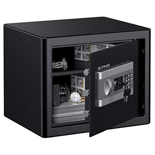 Tresor Safe SLYPNOS 37x31x30 cm mit 3 Doppelstahlbolzen, elektronischem Zahlenschloss, 2 Notfall Vorrang Tasten, 4 Batterien, für Schmuck Bargeld Dokument