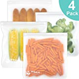 Reusable Gallon Storage Bags - LEAKPROOF Ziplock Gallon Freezer Bags for Marinate Meats, Snack, Sandwich, Fruit, Cereal, Travel Items, Meal Prep, Home Organization - 4 Packs