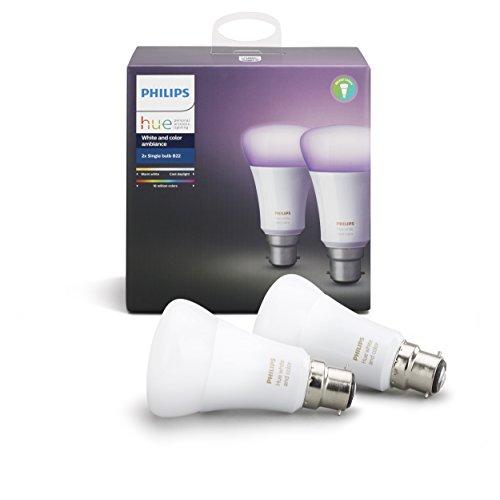 41cwkkB7tjL Bon Philips Hue !  Philips Hue Pack de 2 ampoules connectées White & Color B22 - Fonctionne avec Alexa