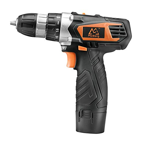 MAIBERG Cordless Drill, Power Drill Driver 12V with 1x1.5Ah Batteries, Charger, 18+1 Torque Setting, 2-Variable Speed Max Torque 200 In-lbs, 3/8' Keyless Chuck