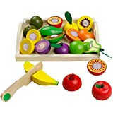 🍎【ALTA QUALITÀ】-- È fatto di legno di alta qualità, frutta da tagliare giocattolo in legno non tossico e speciale per i bambini, frutta pezzi con colori brillanti, dettagliati e resistenti. La superficie in legno è morbida e confortevole, il che lo r...