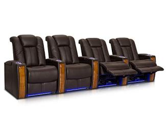 Seatcraft Monaco - Leather Power Recline - Home Theater Seating Chairs Powered by SoundShaker - USB Charging - Ambient Lighting - Wall Hugger - (Row of 4, Brown)