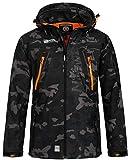 Geographical Norway Techno - Chaqueta flexible para hombre, con capucha desmontable, Hombre, negro/naranja, small