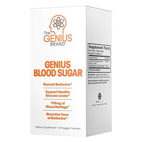 Genius Blood Sugar Support Capsules - Super Berberine Extract w/Organic Cassia Cinnamon for Better Insulin Sensitivity & Reduced Glucose | Keto Supplement 400MG (Berberine HCI + Cinnamon) 30 Pills