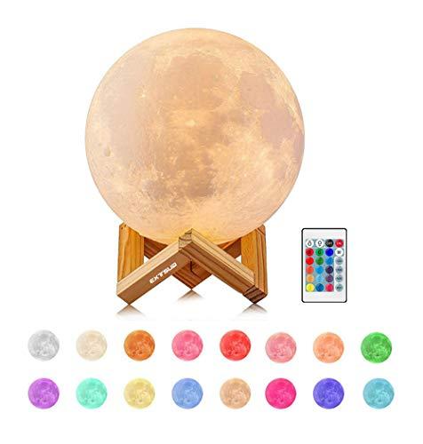 EXTSUD 15cm Mond Lampe 16 Farben 3D Mondlampe mit Fernbedienung Touchschalter eingebaut...