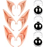 Chengu 3 Pairs Vampire False Teeth Fangs and 3 Pairs Elf Ears for Halloween Decoration Costume Cosplay Props Party Favors, 6 Pairs Total
