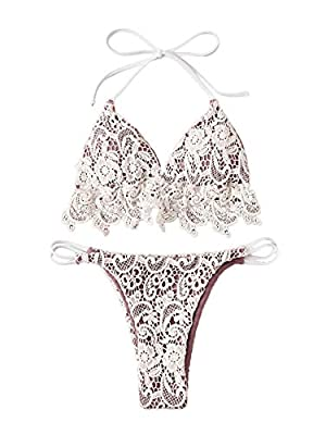 Knot tied style two piece Brazilian bikini swimwear Fabric has some stretch, soft and comfortable Sexy triangle bralette with removable paddings. High cut thong bikini bottom Perfect for vacations, swimming, SPA, bathing, pool, beachwear, etc Please ...