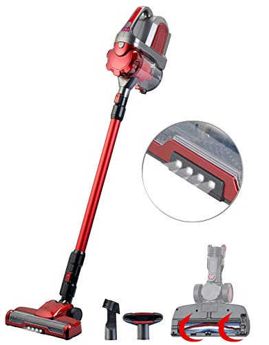 Sichler Haushaltsgeräte Besenstaubsauger: 2in1-Akku-Zyklon-Staubsauger mit elektrischer Bürste, 2 Modi, 21,6 V (Accu Staubsauger)