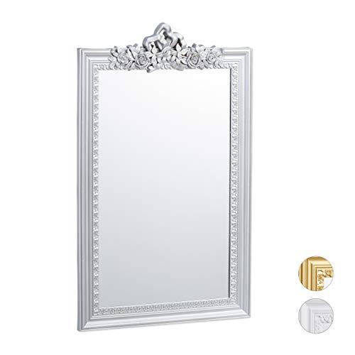 Relaxdays Barock Spiegel, Zierrahmen im Antik Barock Design, Wandspiegel zum Aufhängen, Flur & Wohnzimmer, edel, silber