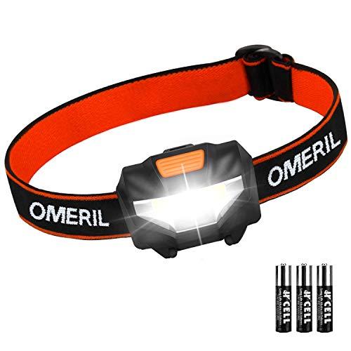 Luce Frontale LED, OMERIL Torcia Frontale Impermeabile con 3 Modalit di Illuminazione, Lampada da Testa per Running, Campeggio, Corsa, Speleologia, Arrampicata, Pesca, Leggere(3 AAA Batterie Incluse)