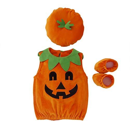 Yorimi Set da 3 pezzi per costume di Halloween in velluto a coste da zucca, scimmia, cappello, calzini per bambini e bambine, travestimenti di Halloween zucca con cappuccio
