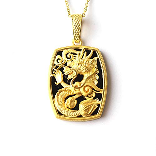 PRIMAGOLD(プリマゴールド) 24金メンズジュエリー 純金ペンダント漆黒のオニキスに浮かぶ龍モチーフ ネック...