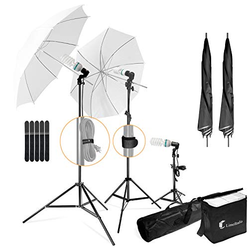 LimoStudio, LMS103, Soft Lighting Umbrella Kit, Day Light Color, 700 Watt Output Lighting with Tripod Stands and Carry Bag