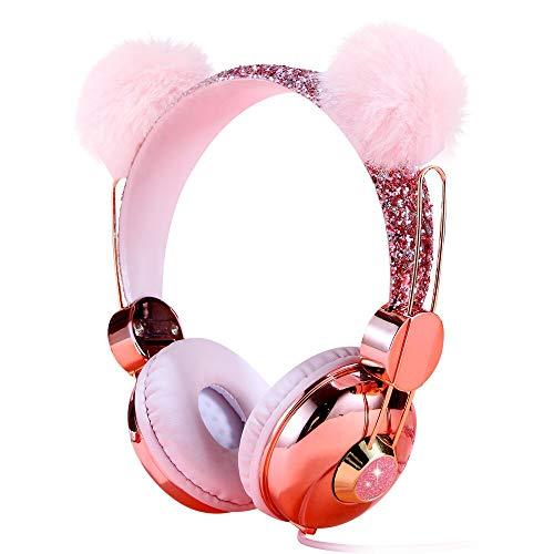 Cuffie per bambini, con filo sopra l'orecchio, 85 dB, limite del volume, per bambini, ragazze, ragazzi, scuola, rosa peluche, orecchio scintillante, con microfono per telefoni cellulari e tablet MP3/4
