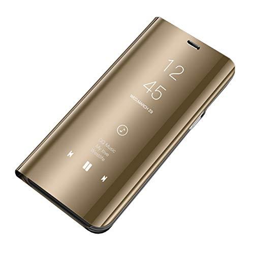 Hishiny Samsung Galaxy S10 Custodia Clear View Specchio Standing Cover S10 Plus Caso Flip Case Custodia Bookstyle Smart Flip Protecter Shell Case per Galaxy S10/S10 Lite/S10 Plus (S10, Oro)