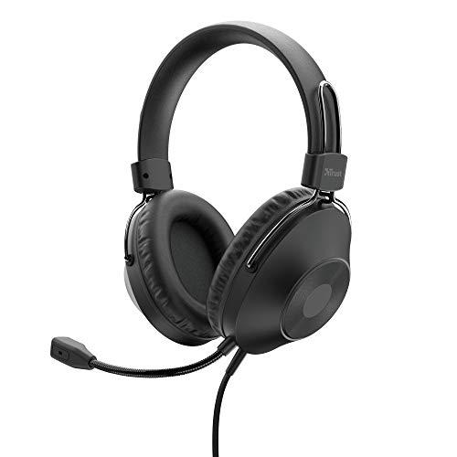 Trust Zaru - Auriculares con Micrófono PC, Cómodas Almohadillas Circumaurales, Diadema Ajustable, Conexión USB, Control de Volumen en el Cable, per Oficina, Skype, Teams, Videoconferencia, Zoom, negro