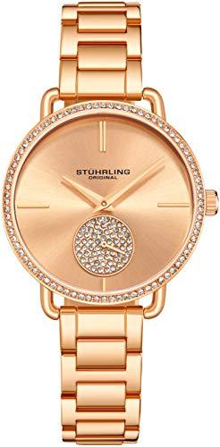 Stuhrling Original Damenuhr Krystal Diamond Analog Zifferblatt und Lünette, Edelstahlarmband 3909 Uhren für Damen Kollektion (Rose Gold)
