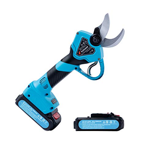 KOHAM Professional Cordless Electric Pruning Shears with 2 Pack Backup Rechargeable 2Ah Lithium Battery Powered Tree Branch Pruner, 30mm (1.2 Inch) Cutting Diameter, 6-7 Working Hours (Blue)