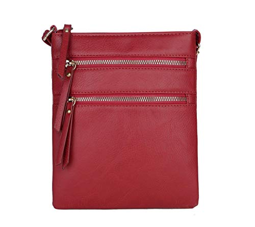 Casual Functional Multi Pocket Double Zipper Purse Crossbody Bags for Women (Burgundy)