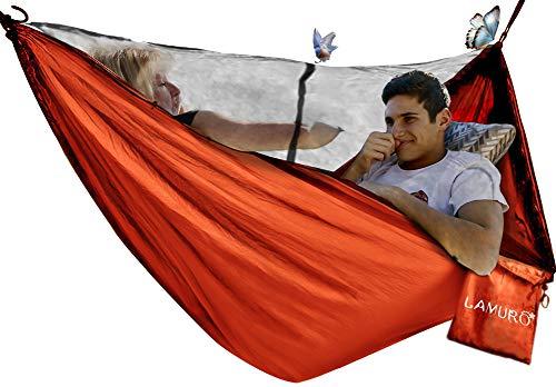LAMURO Hamac Moustiquaire(Amovible) 2 Personnes | Grande Tente zippée au...