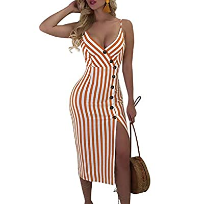 Features: Stripe Print, Adjustable Straps, Deep V Neck, Button Decoration at Front, Backless, Tie up at Back, Slight Stretch, Sexy Slim Fit Dresses, Soft Fabric, Comfortable Wear Occasion: Great for Casual, Daily Wear, Party, Club, Night Out, Vacatio...