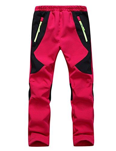 Echinodon Kinder Gefütterte Hose Softshellhose Wasserdicht Winddicht Atmungsaktiv Warm Regenhose Jungen Mädchen Trekkinghose Skihose Rot XS