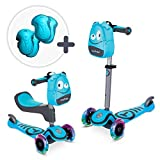 smarTrike T1-3-in-1 Toddler Scooter for Boys & Girls, Safety Gear Included, for 1,2,3 Years Old Kids, Blue
