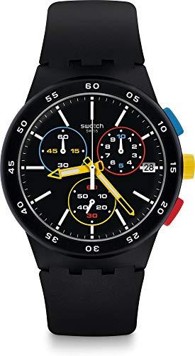 Swatch Herren Chronograph Quarz Uhr mit Silikon Armband SUSB416