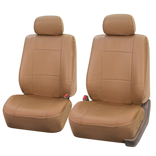 FH Group PU001102 PU Leather Seat Covers (Tan Color) Front Set – Universal Fit for Cars Trucks & SUVs