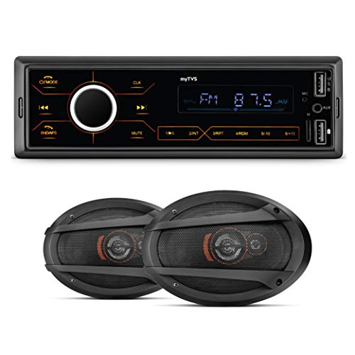 myTVS MP-T1 Touch Screen Single Din Car Stereo Media MP3 Music Player System with Dual USB Bluetooth One Touch to Receive Call FM/AUX/USB/MMC with myTVS SO691 6 X 9 inch Oval Woofer Cone Car Speakers