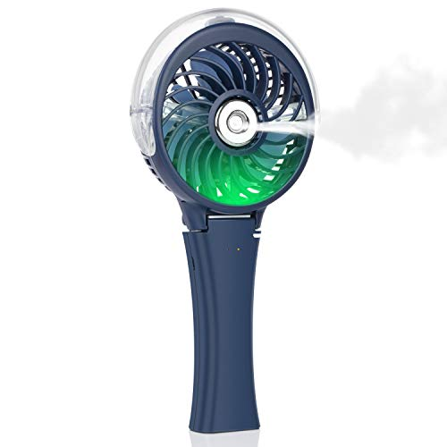 Handheld Misting Fan Portable Fan Facial Steamer-Rechargeable Battery Operated Fan, Foldable Travel Fan with Cooling Humidifier and Colorful Nightlight for Camping, Hiking, Outdoor (Blue)